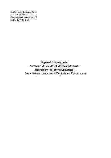 Appareil Locomoteur : Anatomie du coude et de l'avant-bras - Index of