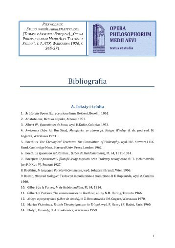 Bibliografia - Katedra Historii Filozofii Starożytnej i Średniowiecznej ...