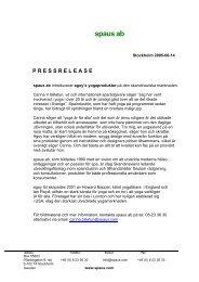 pressrelease - Spaus AB