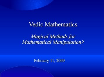 Vedic Mathematics - Department of Mathematics and Computer ...