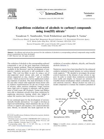 Expeditious oxidation of alcohols to carbonyl compounds using iron ...