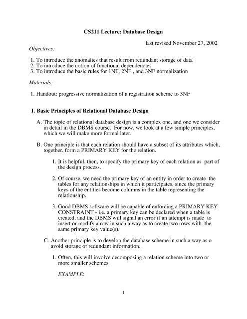 Cs211 Lecture Database Design Last Revised November 27 2002,Material Design Background Hd For Design