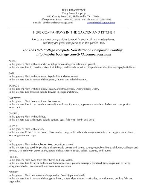 list of companion planting - The Herb Cottage