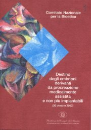 parere del comitato nazionale per la bioetica - Governo Italiano
