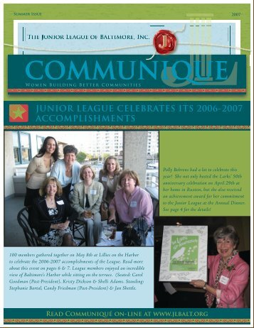 junior league celebrates its 2006-2007 accomplishments