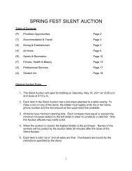 SPRING FEST SILENT AUCTION - University of Toronto Schools