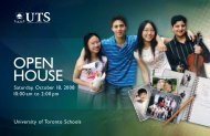 OPEN HOUSE - University of Toronto Schools