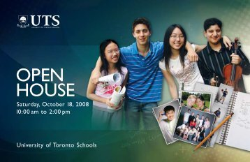 OPEN HOUSE - University of Toronto Schools