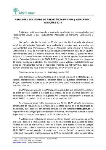 Clique aqui para ver a carta de convocação da eleição. - AbrilPREV