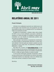 2012 - Abril - Relatório Anual de 2011 - AbrilPREV