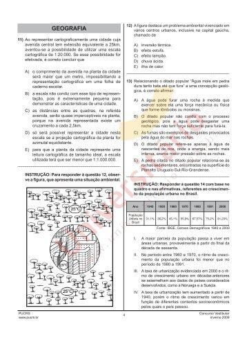 Prova de Geografia - PUCRS 2009/2