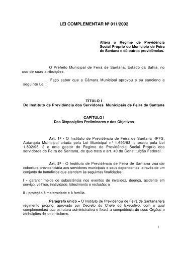 LEI COMPLEMENTAR Nº 011/2002 - Prefeitura Municipal de Feira ...