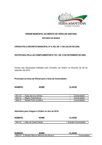 ordem municipal do mérito de feira de santana estado da bahia ...
