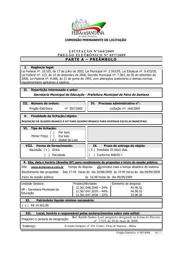 Edital - Prefeitura Municipal de Feira de Santana