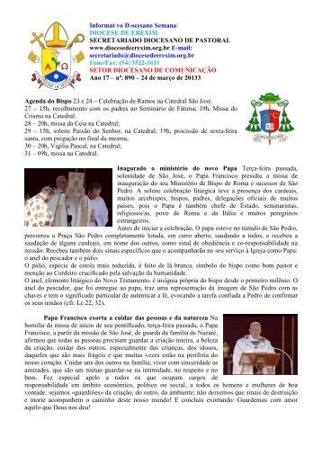 Informativo Semanal do dia 24 de Março de 2013. - Diocese de ...