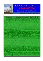 20 de Julho - Paróquia Nossa Senhora do... - Diocese de Erexim