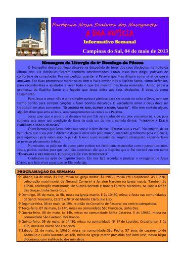 04 de Maio - Paróquia Nossa Senhora do... - Diocese de Erexim