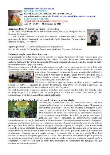 Informativo Semanal do dia 31 de Março de 2013. - Diocese de ...