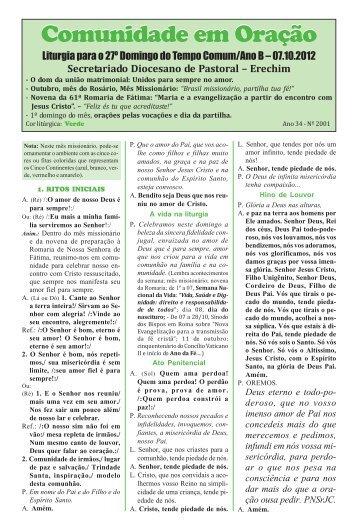 Comunidade em Oração - Diocese de Erexim