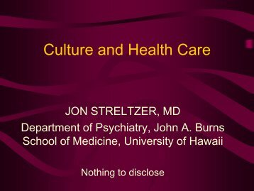 Culture and Health Care