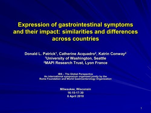 Expression of gastrointestinal symptoms across     - Rome