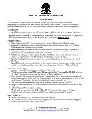 uts centennial art exhibition guidelines - University of Toronto Schools