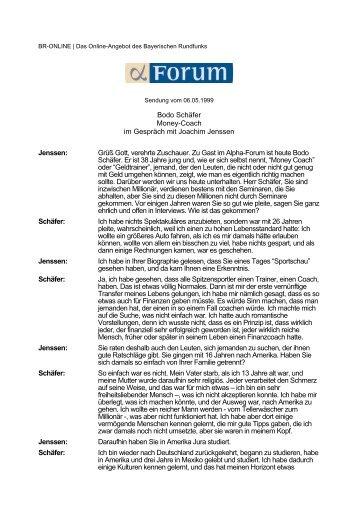 Bodo Schäfer Money-Coach im Gespräch mit Joachim Jenssen - 1