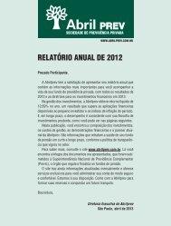 2013 - Abril - Relatório Anual de 2012 - AbrilPREV