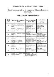 I Seminário Universidade e Escola Pública Desafios e ... - USP