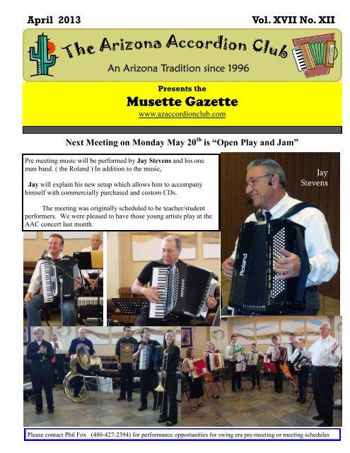 April 2013 - Arizona Accordion Club