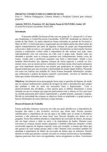 PROJETO: CONHECENDO O CORPO HUMANO Eixo 4 ... - USP