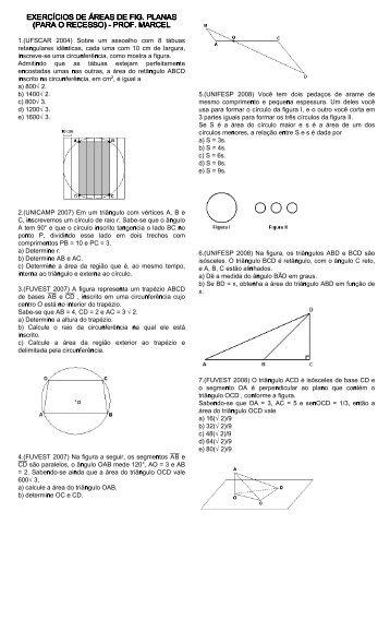 exercícios de geometria plana