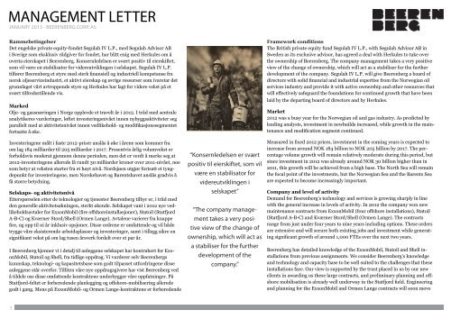 Les Management Letter for januar 2013 her! - Beerenberg