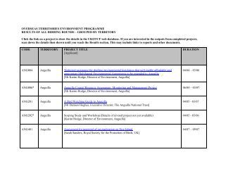 OVERSEAS TERRITORIES ENVIRONMENT PROGRAMME - UKOTCF
