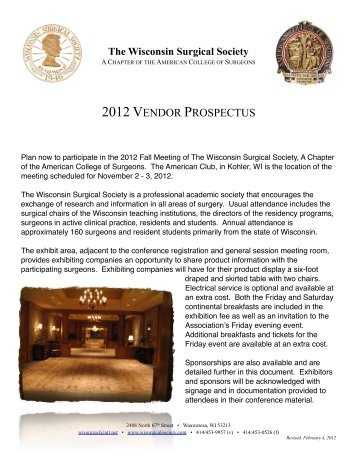 WSS Vendor Prospectus Fall 2012 - Wisconsin Surgical Society