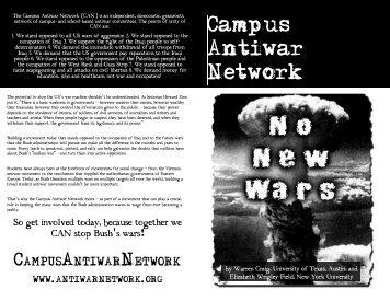 No New Wars - Campus Activism