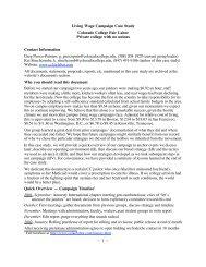 Living Wage Campaign Case Study Colorado ... - Campus Activism