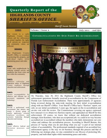 Quarterly Report July 2011 - Highlands County Sheriff's Office