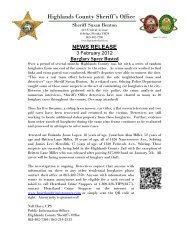 Burglary Spree Busted - Highlands County Sheriff's Office