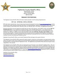RFP 10-04 - Highlands County Sheriff's Office