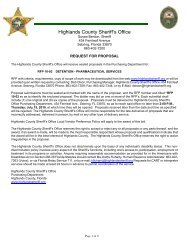 RFP 10-03 - Highlands County Sheriff's Office