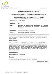 DÉPARTEMENT DE LA LOZÈRE DÉLIBÉRATION DE LA ...