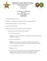 Pre-Meeting Minutes - Highlands County Sheriff's Office