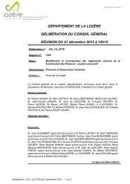 DÉPARTEMENT DE LA LOZÈRE DÉLIBÉRATION DU CONSEIL ...