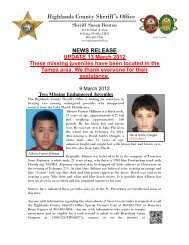 Two Missing Endangered Juveniles - Highlands County Sheriff's Office
