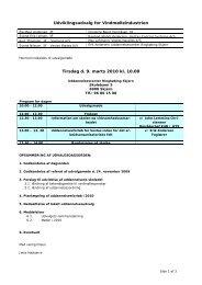 Dagsorden og bilag til UU Vindmølleindustri møde 9. marts 2010
