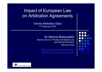 Impact of European Law on Arbitration ... - Arbitration Austria