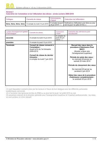 Bulletin officiel n° 45 du 3 décembre 2009 - Collège Marcel Pierrel à ...