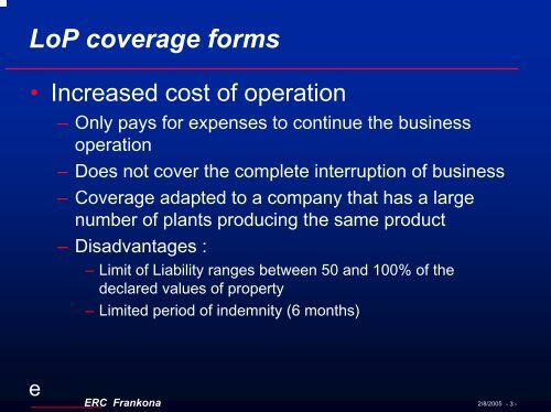 LoP coverage forms - Bosna RE