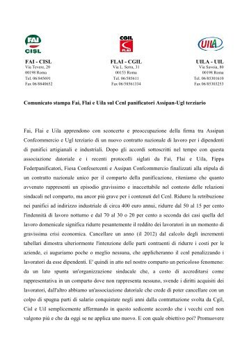 ASSIPAN comunicato 24-06-13 - Flai-Cgil